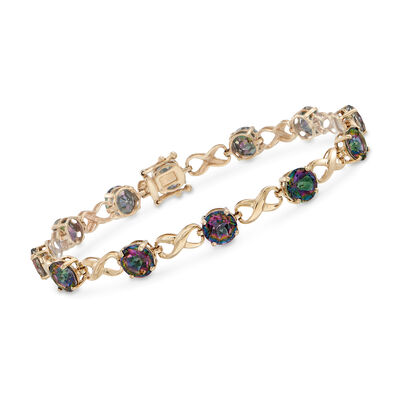 12.00 ct. t.w. Multicolored Topaz Infinity Bracelet in 14kt Yellow Gold, , default