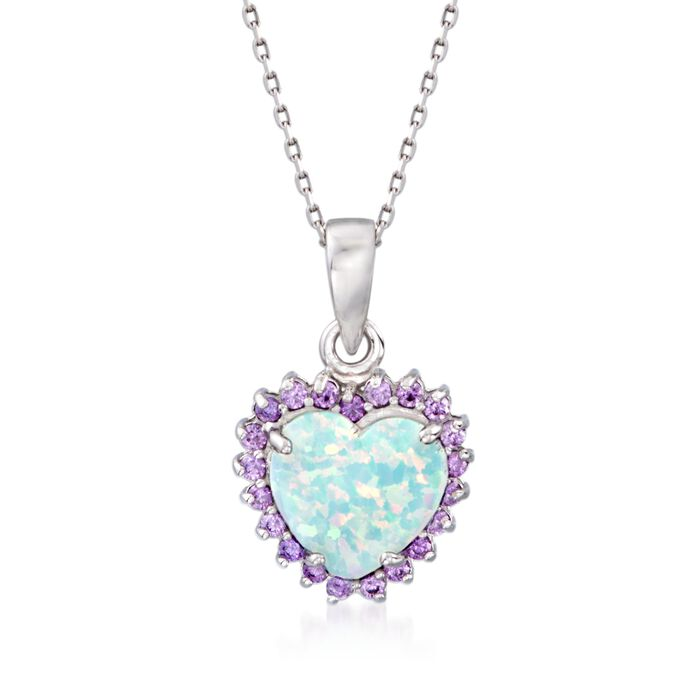 "Simulated Opal and Simulated Amethyst Heart Pendant Necklace in Sterling Silver. 18"", , default"