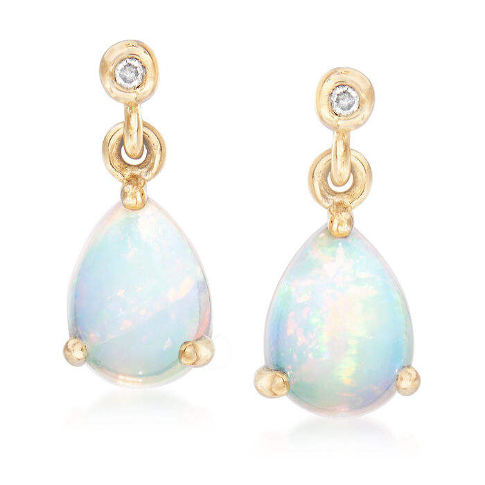 Ethiopian Opal Drop Earrings with Diamond Accents in 14kt Yellow Gold