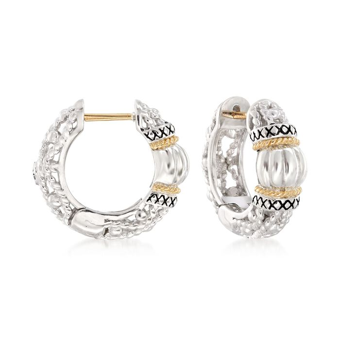 """Andrea Candela """"La Corona"""" Sterling Silver and 18kt Yellow Gold Small Hoop Earrings. 5/8"""", , default"""