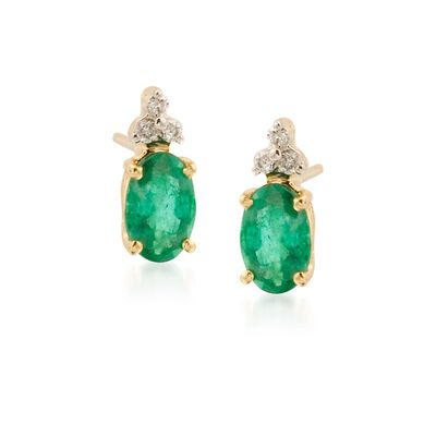 1.10 ct. t.w. Emerald Earrings with Diamond Accents in 14kt Yellow Gold, , default
