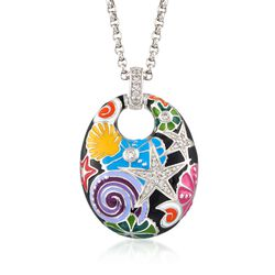 "Belle Etoile ""Starfish"" Black and Multicolored Enamel Pendant With CZs in Sterling Silver, , default"