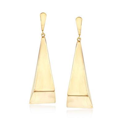 Italian Geometric Drop Earrings in 14kt Yellow Gold, , default