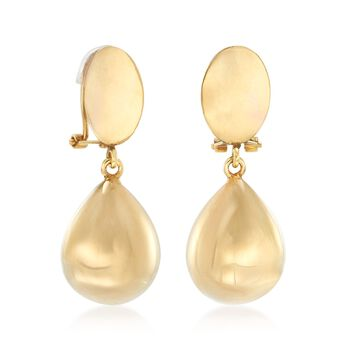 Italian 14kt Yellow Gold Teardrop Clip-On Earrings, , default