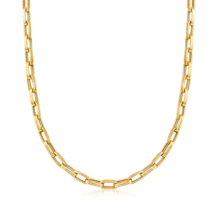 Italian 14kt Yellow Gold Alternating Double Paper Clip Link Necklace