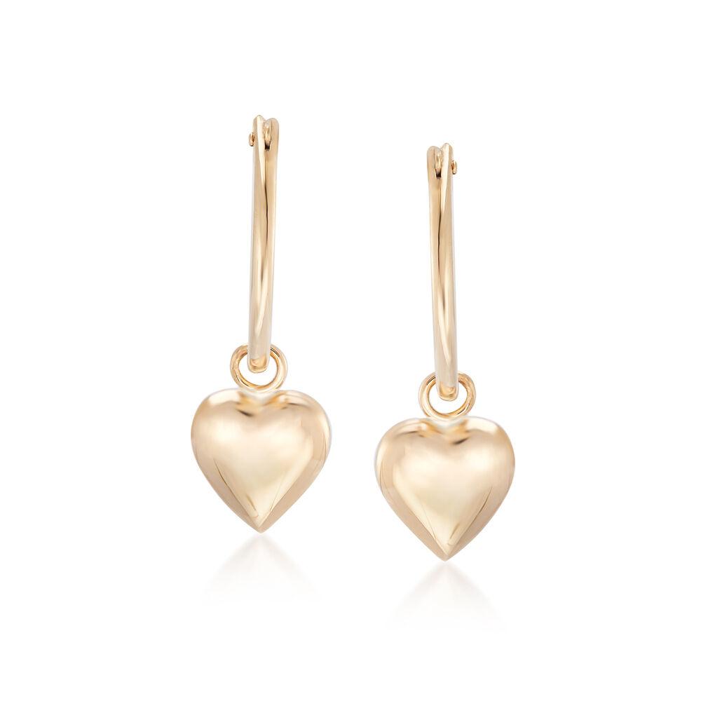 58c59b901 Child's 14kt Yellow Gold Heart Charm Hoop Earrings | Ross-Simons