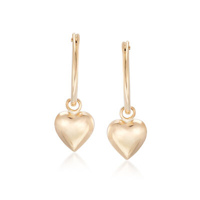 Child's 14kt Yellow Gold Heart Charm Hoop Earrings, , default
