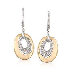 .30 ct. t.w. Diamond Open Oval Drop Earrings in 14kt Two-Tone Gold, , default