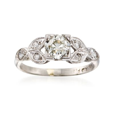 C. 1970 Vintage 1.10 ct. W. Diamond Floral Ring in Platinum