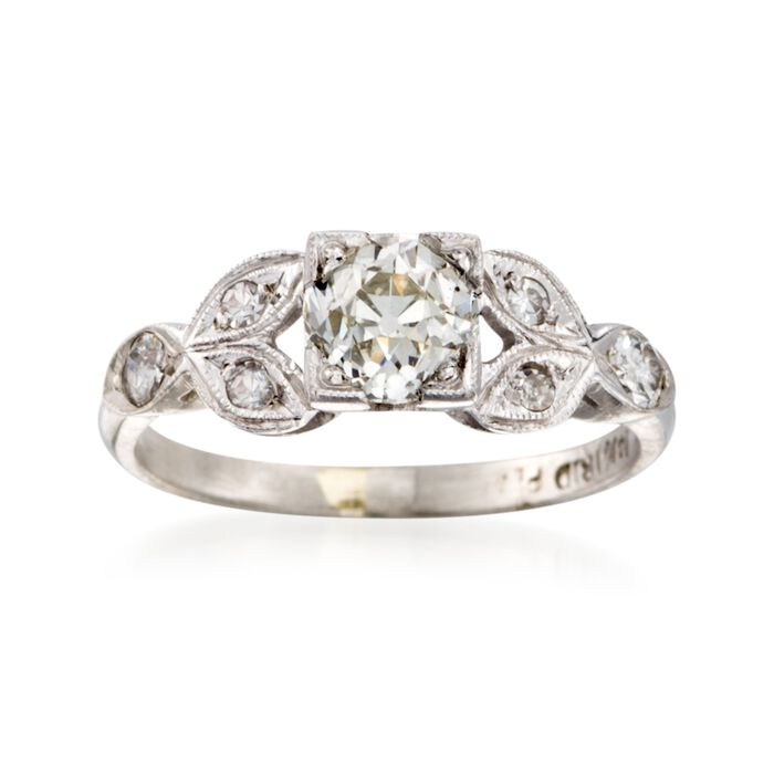 C. 1970 Vintage 1.10 ct. W. Diamond Floral Ring in Platinum. Size 5, , default