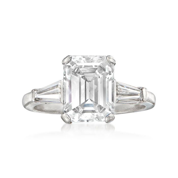 C. 1980 Vintage 3.76 ct. t.w. Certified Diamond Ring in Platinum. Size 6, , default