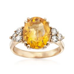 4.50 Carat Citrine and .55 ct. t.w. Diamond Ring in 14kt Yellow Gold, , default