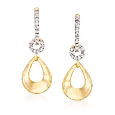 .14 ct. t.w. Diamond Drop Hoop Earrings in 14kt Yellow Gold