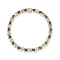 C. 1980 Vintage 30.50 ct. t.w. Bezel-Set Amethyst and 29.75 ct. t.w. Blue Topaz Necklace in 14kt Gold, , default