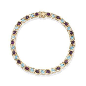 """C. 1980 Vintage 30.50 ct. t.w. Amethyst and 29.75 ct. t.w. Blue Topaz Necklace in 14kt Gold. 16.5"""", , default"""