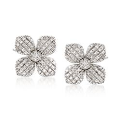.21 ct. t.w. Diamond Flower Earrings in 14kt White Gold, , default