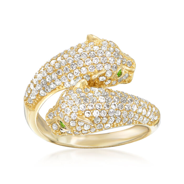 1.90 ct. t.w. White Zircon Panther Ring in 18kt Yellow Gold Over Sterling Silver with Green Chrome Diopside, , default