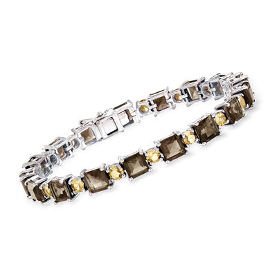 18.00 ct. t.w. Smoky Quartz and 3.70 Citrine Tennis Bracelet in Sterling Silver, , default