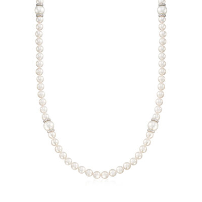 "Mikimoto ""Everyday Essentials"" 7-7.5mm Akoya and 10mm South Sea Pearl Necklace with Diamonds and 18kt White Gold"