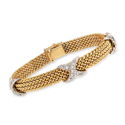 C. 1990 Vintage .60 ct. t.w. Diamond X-Station Mesh Bracelet in 14kt Two-Tone Gold, , default