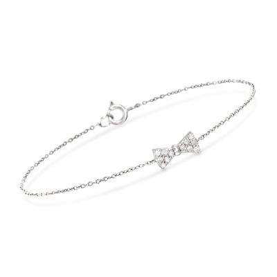 .18 ct. t.w. Diamond Bow Tie Bracelet in Sterling Silver, , default