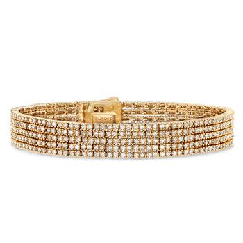 "5.00 ct. t.w. Diamond Five-Strand Bracelet in 14kt Yellow Gold. 7"""