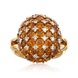 C. 1990 Vintage 5.20 ct. t.w. Yellow Sapphire and .50 ct. t.w. Diamond Ring in 14kt Yellow Gold, , default