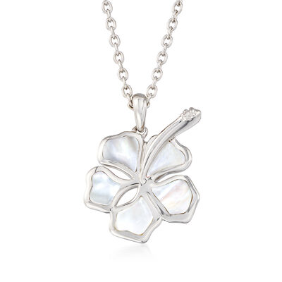 Mother-Of-Pearl Hibiscus Pendant Necklace in Sterling Silver, , default