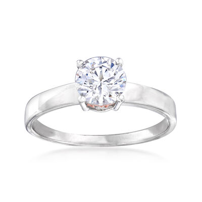 1.01 ct. t.w. CZ Ring in Sterling Silver and 18kt Rose Gold Over Sterling, , default