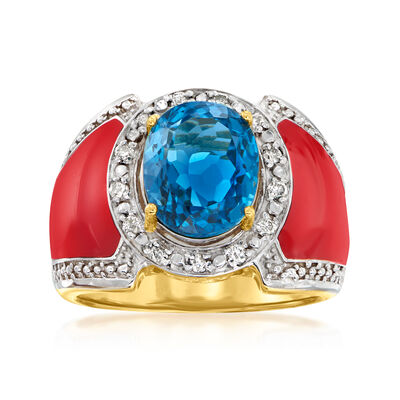 4.50 Carat London Blue Topaz and .22 ct. t.w. Diamond Ring with Red Enamel in 18kt Gold Over Sterling