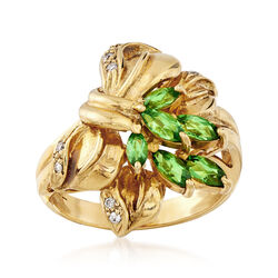 C. 1980 Vintage Tsavorite and Diamond Ring in 14kt Yellow Gold, , default
