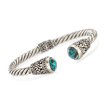 "Balinese Turquoise Cuff Bracelet in Sterling Silver. 7.5"", , default"