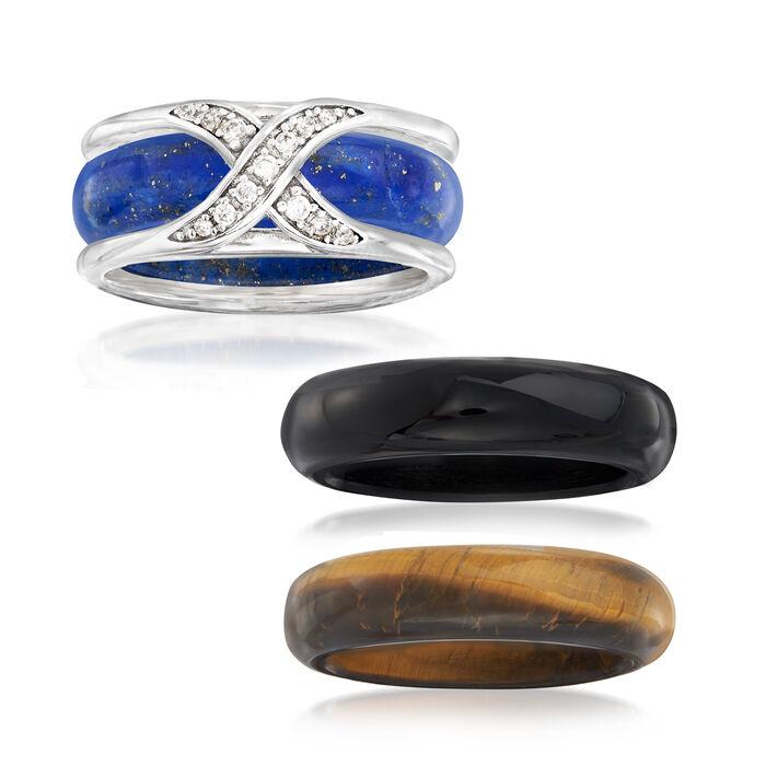 Multi-Stone Jewelry Set: Three Interchangeable Bands with .10 ct. t.w. White Zircon Ring Jacket in Sterling Silver