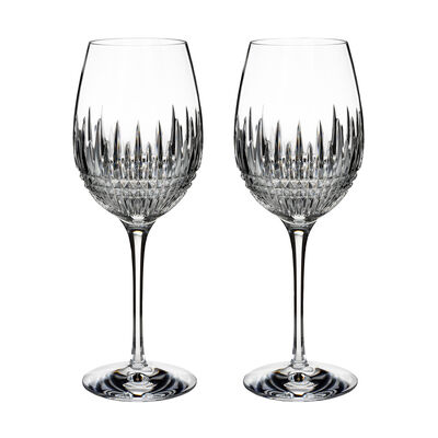 "Waterford Crystal ""Diamond Essence"" Set of 2 Lismore Goblet Glasses"