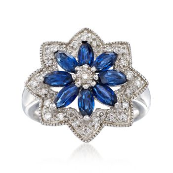 2.40 ct. t.w. Sapphire and .20 ct. t.w. White Zircon Floral Ring in Sterling Silver, , default