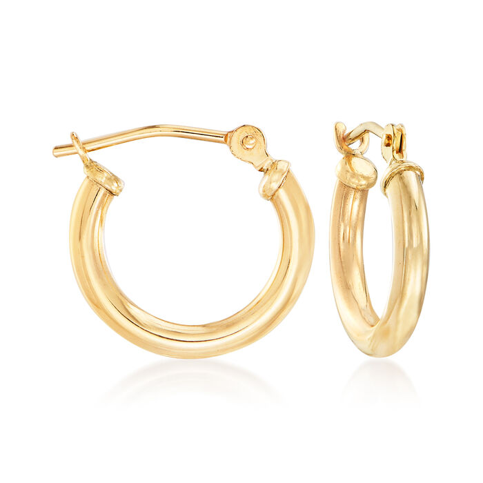 1.5mm 14kt Yellow Gold Small Hoop Earrings