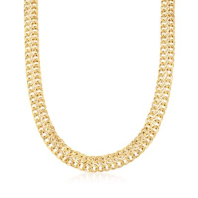 Italian 18kt Yellow Gold Two-Row Twisted Link Necklace, , default