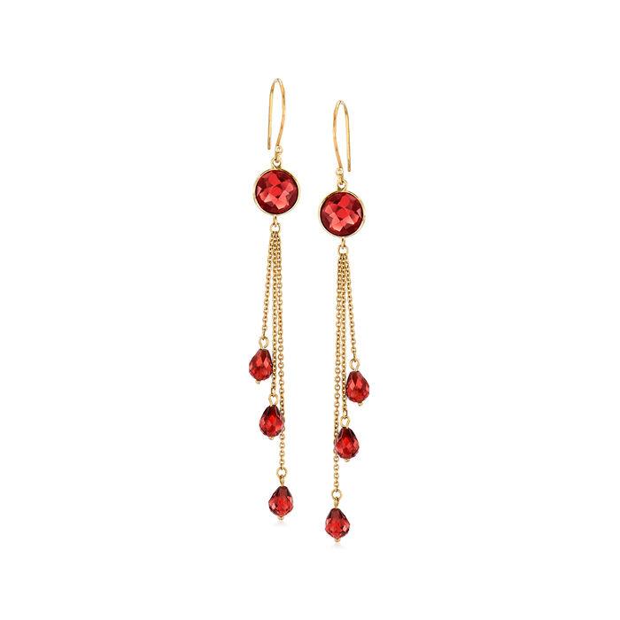 8.35 ct. t.w. Garnet Tassel Drop Earrings in 14kt Yellow Gold