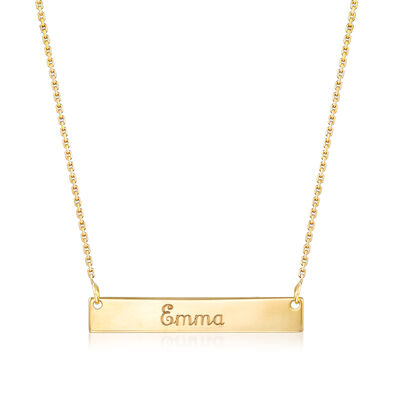 14kt Yellow Gold Mini Name Bar Necklace