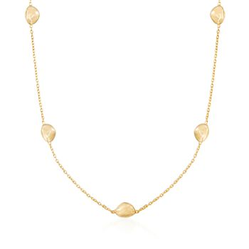 "Italian 18kt Yellow Gold Pebble Station Necklace. 18"", , default"