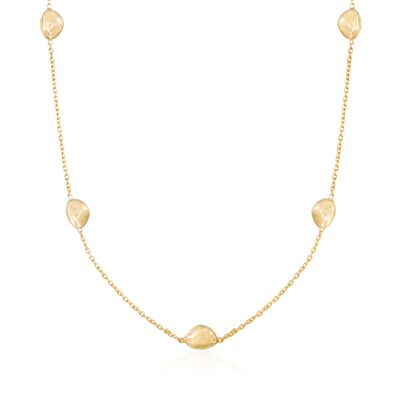 Italian 18kt Yellow Gold Pebble Station Necklace, , default