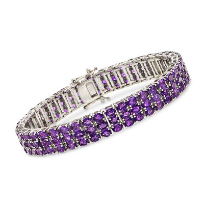 20.00 ct. t.w. Amethyst Multi-Row Tennis Bracelet, , default