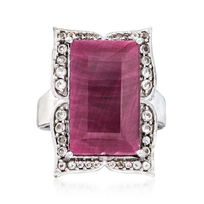14.00 Carat Ruby and .50 ct. t.w. White Topaz Frame Ring in Sterling Silver, , default