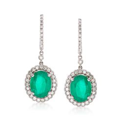 5.00 ct. t.w. Emerald and .68 ct. t.w. Diamond Drop Earrings in 14kt White Gold, , default