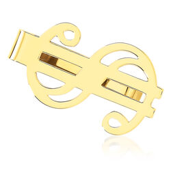 14kt Yellow Gold Three-Initial Dollar Sign Money Clip, , default