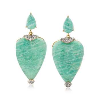 Amazonite and .30 ct. t.w. White Topaz Drop Earrings in 18kt Gold Over Sterling, , default