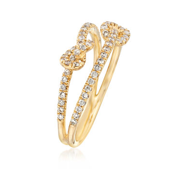 Gabriel Designs .45 ct. t.w. Diamond Double Knot Ring in 14kt Yellow Gold. Size 6.5, , default