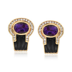 C. 1980 Vintage Black Onyx and 3.70 ct. t.w. Amethyst Earrings With Diamonds in 18kt Yellow Gold , , default