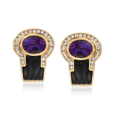 C. 1980 Vintage Black Onyx and 3.70 ct. t.w. Amethyst Earrings with Diamonds in 18kt Yellow Gold, , default