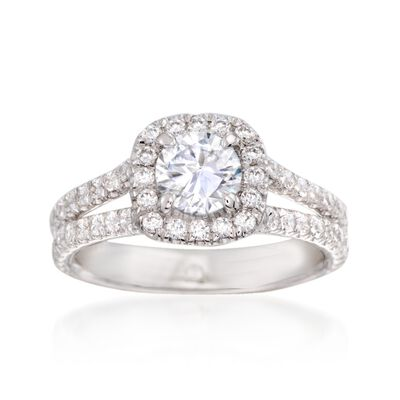 Gabriel Designs .78 ct. t.w. Diamond Engagement Ring Setting in 14kt White Gold